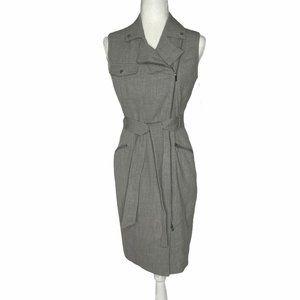 Calvin Klein Moto Gray Sheath Dress Stretch